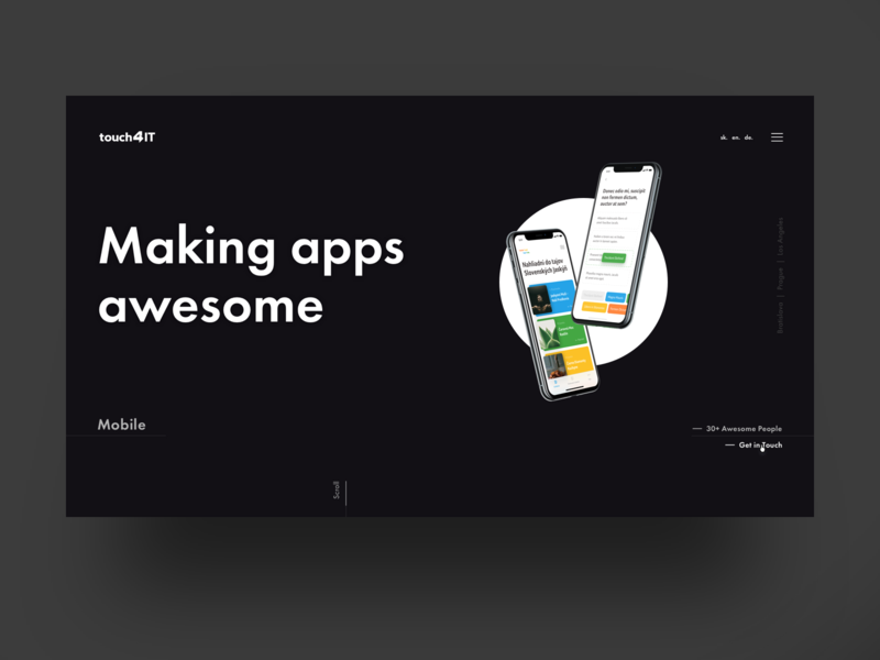 Landing Page - Touch4IT app website web interface clean simple clean interface simple black layout landing page ui