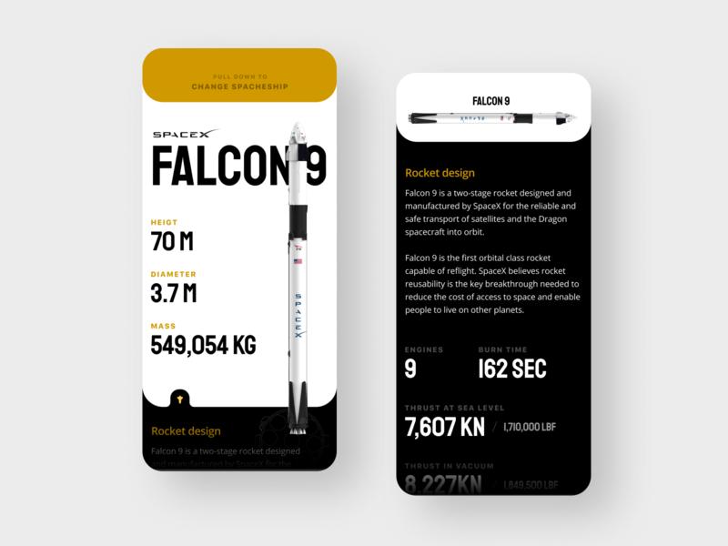 SpaceX App Concept spacecraft ios iphonex app space rocketship ship rocket starship