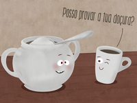 Shy Sugar Bowl & Naughty Coffee cup