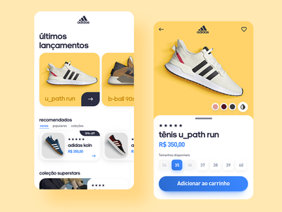 Adidas App slider carrousel interaction design interface interactive interaction animation animated shoes shop ecommerce app ecommerce adidas