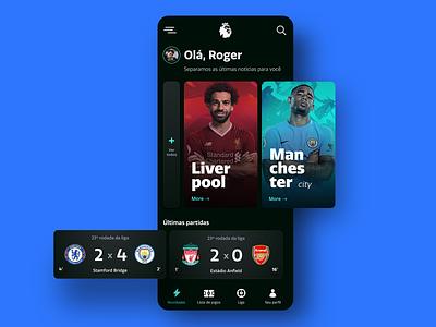 Premier League App dark theme dark mode dark app dark ui soccer app soccer premierleague app design interface carrousel app