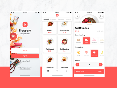 Food Ordering App food icons ux  ui fruit icons fruit dessert order food food app icon design flat ui