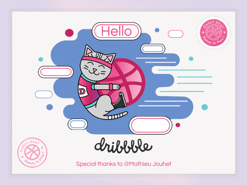 Hello Dribbble cute kitty design vector illustration dribbbleplayer player dribbbledebut firstshot debuts debutshot debut