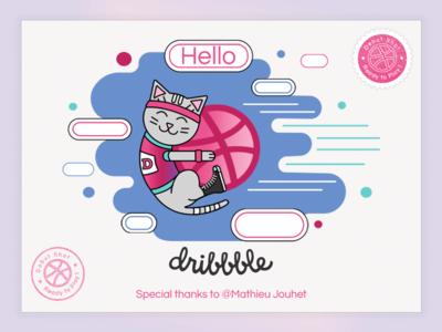 Hello Dribbble cute kitty design vector illustration dribbbleplayer player dribbbledebut firstshot debuts debutshot debut