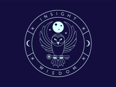 Owl Logo Badge neon blue moon owl lineart badge design logo shot dribbble player debut