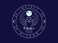 Owl Logo Badge neon blue moon owl lineart badge design logo shot dribbble player debut