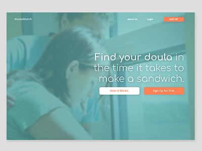 Daily UI #003: Landing Page doula uidesign ui dailyui dailyui003