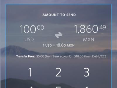 Send Money App - Number Pad ui design currency converter keyboard send money international remittance