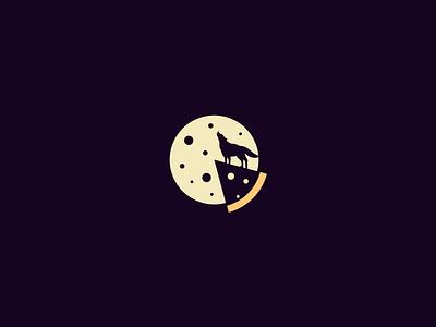 PIZZA MIDNIGHT wolf simpe branding logo design illustartor food character