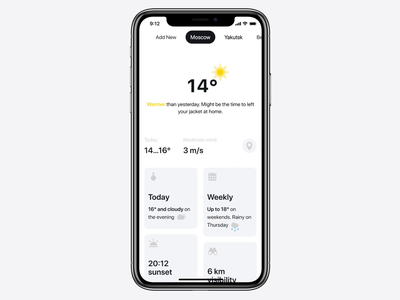 Weather App Concept transition clean principle mobile ios interaction weather app animation