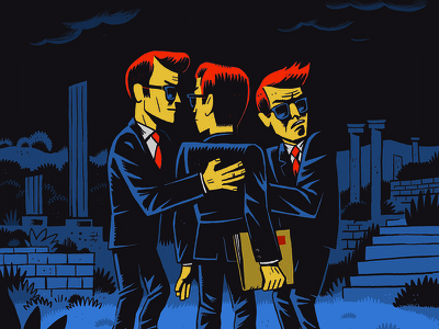 Conspiracy Theory editorial illustration conspirators character conspiracy theory