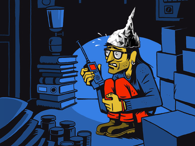 Conspiracy Theory tin foil hat elementi magazine illustration character conspiracy theory