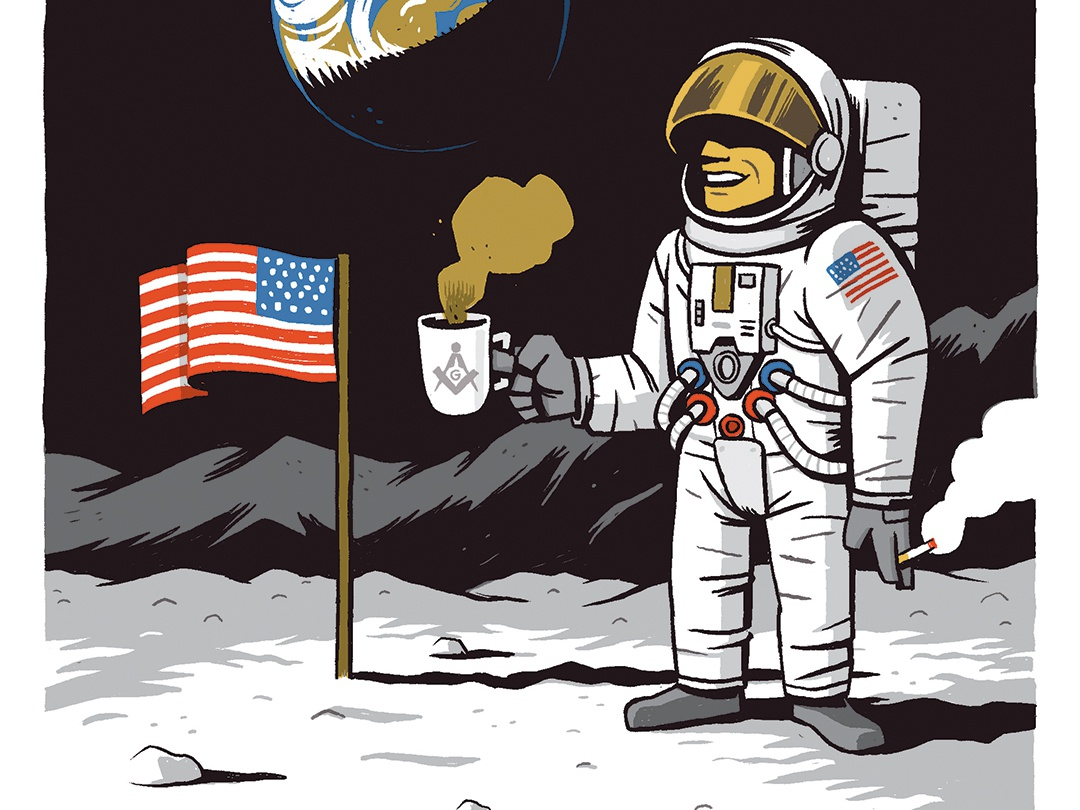 Fake Moon Landing apollo 11 conspiracy theory american flag cigarettes film set earth moon coffee neil armstrong fake moon landing
