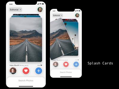 Splash Cards ui homepage app