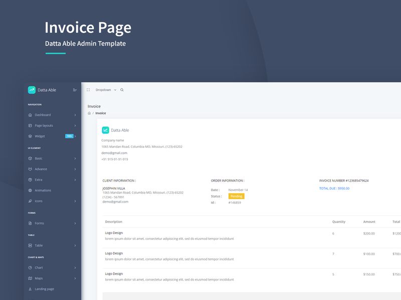 Invoice Page - Datta Able Admin Template dashboard admin bootstrap admin template bootstrap admin bootstrap interface uiux ui admin design bootstrap 4 admin panel branding admin theme ui  ux design invoice template invoice list invoice design sass admin template admin dashboard