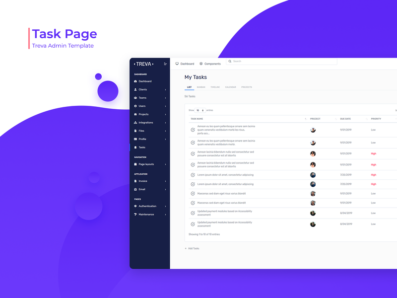 Task Page - Treva Admin Template bootstrap template ui ux ui design task app bootstrap admin bootstrap4 branding admin theme ui  ux design sass admin template admin dashboard bootstrap admin design admin panel admin task task list task page task management