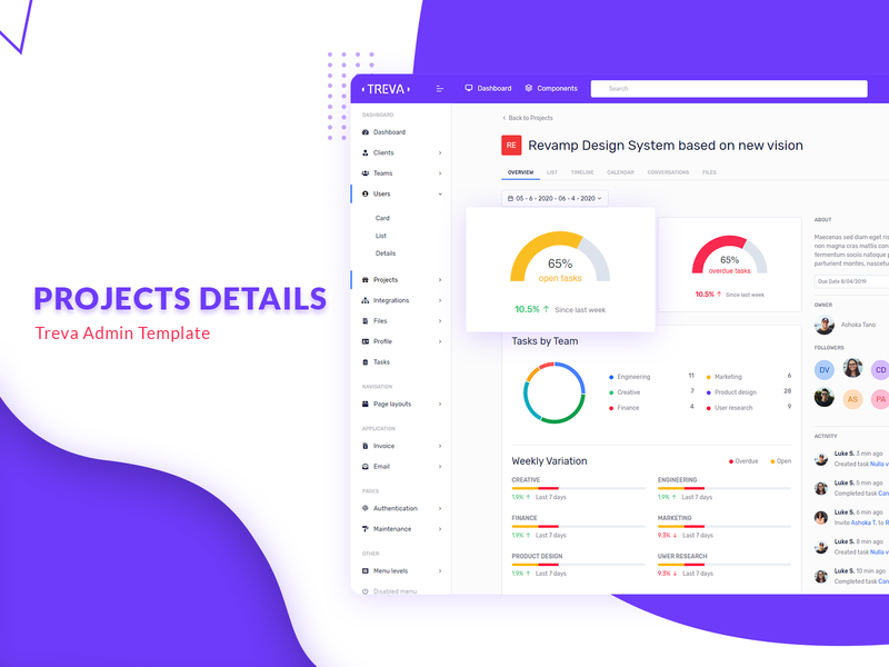 Projects details - Treva Admin Template ui bootstrap 4 branding sass bootstrap admin template ui ux design ui kit ui ux bootstrap admin bootstrap admin dashboard admin template admin theme admin design admin panel admin project list projects detail project management