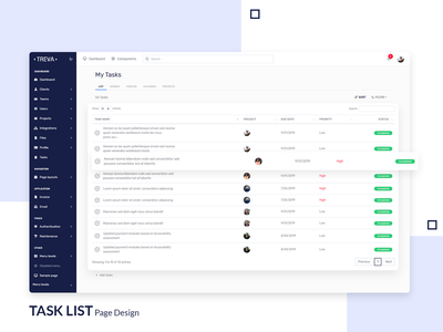 Task List Page - Treva Admin Template tasting bootstrap template bootstrap ui ux design task management uiux ui bootstrap 4 branding admin theme ui  ux design sass admin template admin dashboard admin design admin panel admin task detail task list task