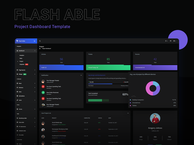 Project Dashboard - Flash Able Admin Template uidesign admin dashboard template dark version dark ui admin ui design dashboard ui kit bootstrap 4 admin design branding admin panel admin theme ui  ux design sass admin template admin dashboard dashboard ui design dashboard ui