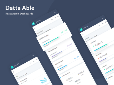Datta Able React Admin Dashboards uidesign react dashboard template reactjs react admin template admin ui ui kit uiux dashboard ui project dashboard crm dashboard analytics dashboard analytic react admin dashboard template admin theme ui  ux design sass admin template admin dashboard