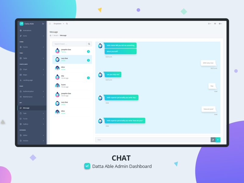 💬Chat - Datta Able Admin dashboard by codedthemes on Dribbble