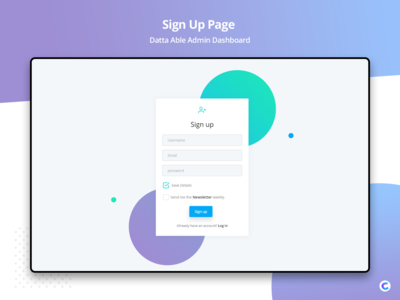 Freebie - Sign Up Page  Datta Able Admin Template