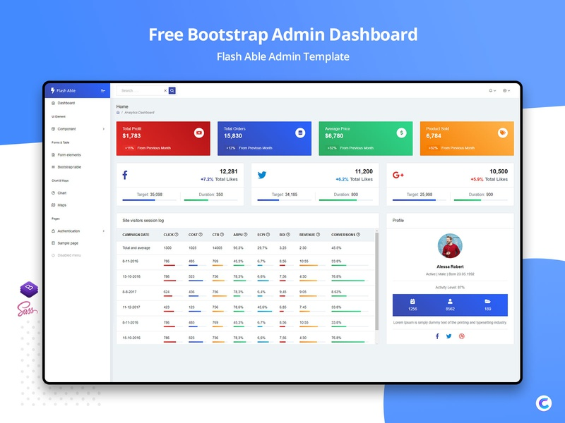 Flash Able Bootstrap Free Admin Template bootstrap admin dashboard admin chart widgets free admintemplates templates design ui admin design bootstrap admin admin panel boostrap admin template admin theme ui  ux design admin template branding sass bootstrap 4 admin dashboard