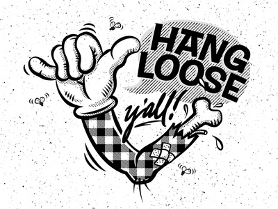 Hang loose vector illustration plaid halftone cartoon bone arm broken