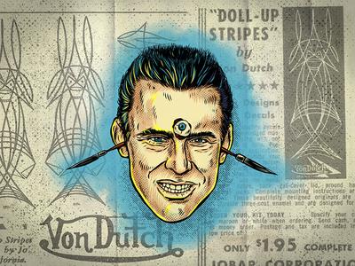 Von Dutch Portrait pinstripe weirdo vector vondutch lowbrow kook illustrator illustration hotrod halftone draw adobe