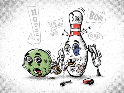 It's a hard knock life pin ball weirdos vector bowling lowbrow kooks illustrator illustration halftone draw adobe