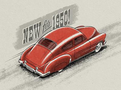 1950 Chevy Fleetline automotive typography halftone illustration chevy vintage retro photoshop illustrator draw adobe