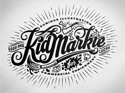 Kidmarkie Identity cartoon lowbrow vector art adobe sketch ink spill lucky rays adobe draw vector typography hand lettering illustrator