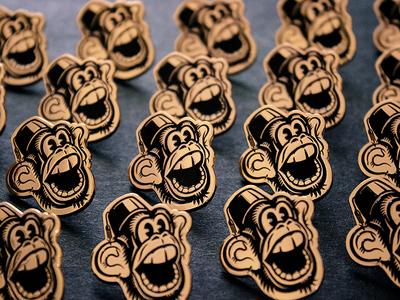 Monkey & Fez lapel pin soft-enamel copper retro monkey lapel-pin vector illustration