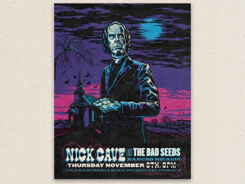 Nick the Preacher Poster full moon church typography low brow texture california nicasio bad seeds nick cave illustrator adobe draw halftone vector illustration