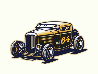1932 Ford Highboy Hot Rod vector art adobe illustrator 3 window hot rod 32 ford lowbrow logo design illustrator vector illustration
