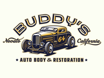 Buddy's Auto Body Identity concept 1 3 window coupe highboy hot rod 32 ford design logo automotive typography lowbrow illustrator vector illustration