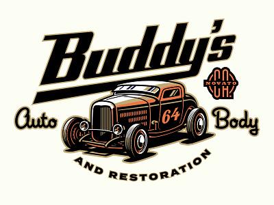 Buddy 's Auto Boy Identity concept 2 adobe illustrator automotive 3 window coupe high boy hot rod 32 ford design logo typography lowbrow illustrator vector illustration