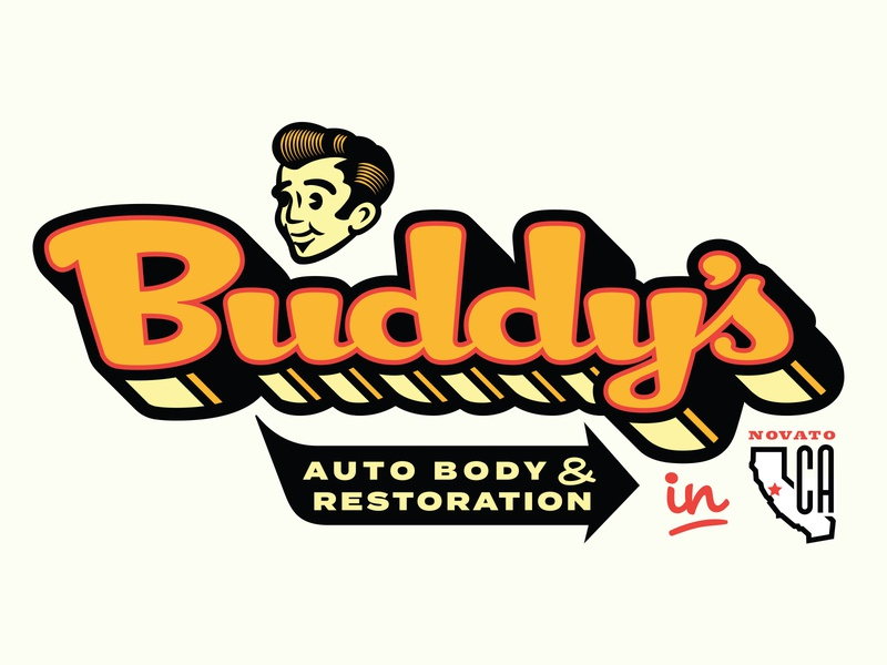 Buddy 's Auto Boy Identity concept 4 graphic  design design custom font custom-type character art character branding adobe illustrator logo automotive typography lowbrow illustrator vector illustration