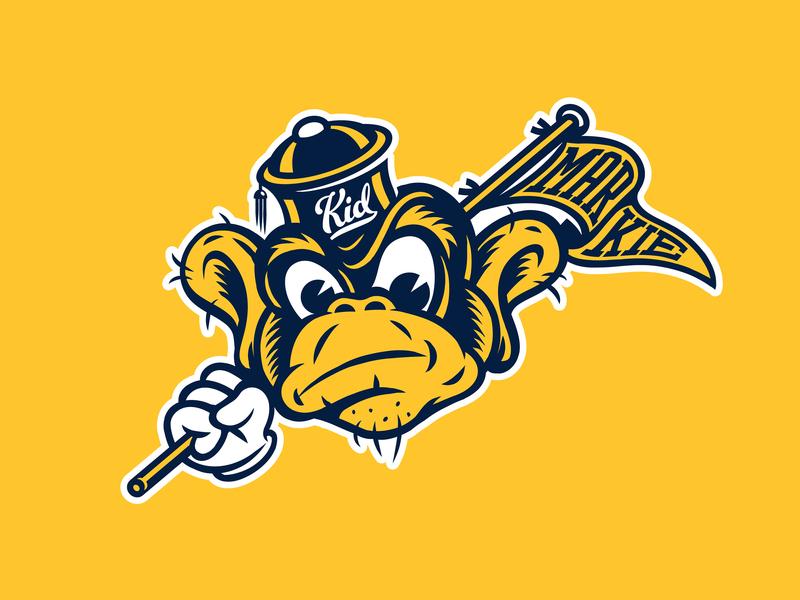KidMarkie Cal Monkey Logo mascot college basketball college sports vector art primate character penant monkey design adobe illustrator adobe draw logo typography vector illustration