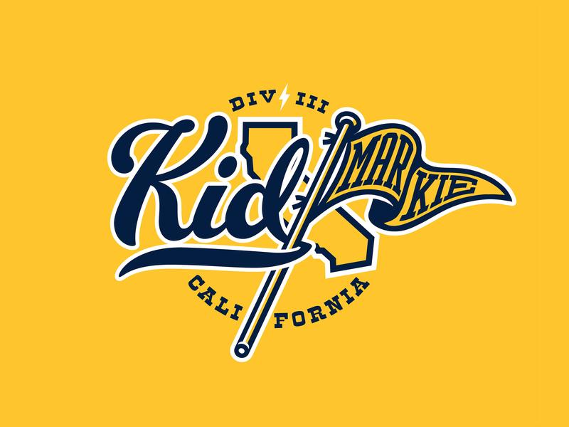Kidmarkie Cal Logo typography mascot college basketball college sports logo california penant script font vector art adobe draw vector illustration