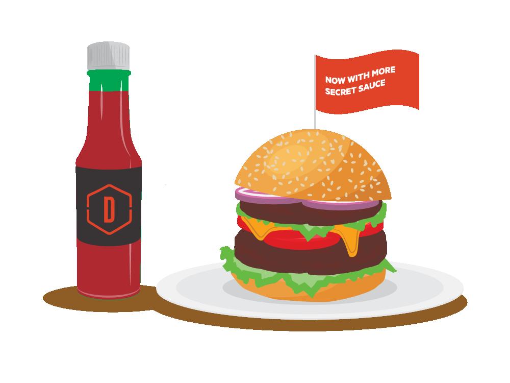 Custom Burger web vector graphic fun design illustration