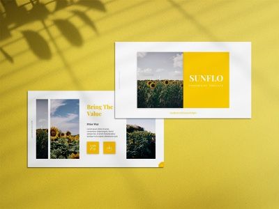 Sunflo Flower Presentation Template minimalist branding lookbook design business presentation powerpoint design powerpoint design presentation template presentation design presentation