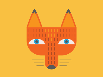 Fox Head fox dog vector illustrator flat shapes geometric