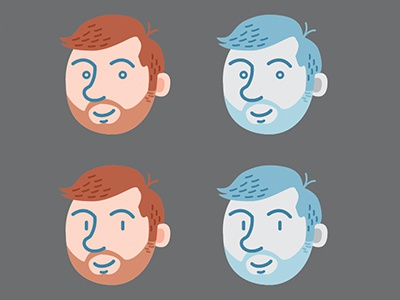 beardy boy heads characters illustrator vector icons portraits men boys beards