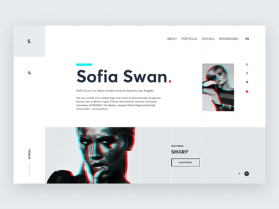 Sofia Swan website concept. inspiration design branding ui black and white black  white girl personal brand personal project web design imagery model animation parallax motion