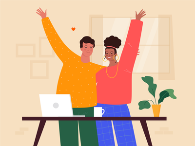 WFH illustration designer development wfh couple vectorart vector illustration dribbble branding web design vectornator vector illustration