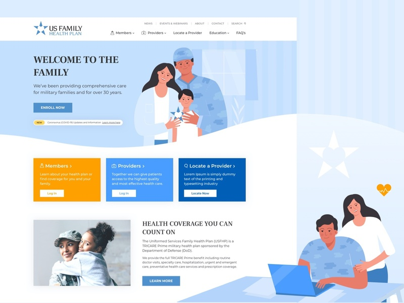 New Landing page for USFH website web design blue animation homepagedesign insurance company insurance healthy military illustration vector landing page design landing landingpage