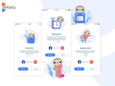 Keto diet app Onboarding diet keto ui blue onboarding app illustration