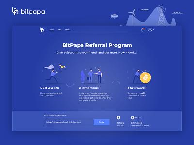 Bitpapa referral program referral bitcoin crypto wallet crypto web design ui dribbble app website blue illustration