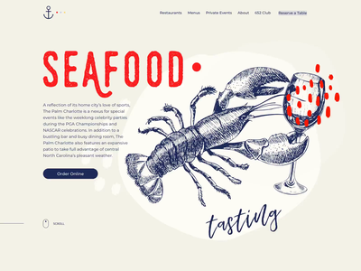 The Palm Charlotte - Fine dining restaurant homepage illustraion branding web design octopus parallax animation red scroll restaurant seafood crab lobster food
